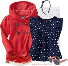 Toddler Girl's Outfit: Red, White, & Blue - Featuring items from Old Navy, 6PM, and Target.