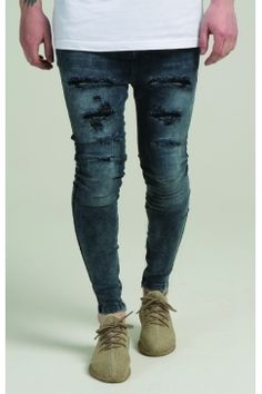 SikSilk - Oil Dye Hareem Jeans - Blue Acid Wash  b915f809eb