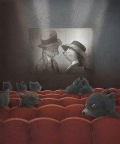 Cute cinema illustration by Renata Liwska