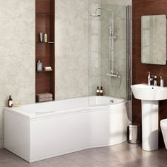 1500x800mm - Right Hand P-Shaped Bath with 6mm Screen & Front [PT-BL101] - £319.99 : Platinum Taps & Bathrooms