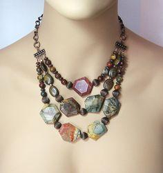 Earthy Multi-Strand Red Creek Jasper  Copper Necklace - Picasso Jasper Earrings. Here it is on a model neck.