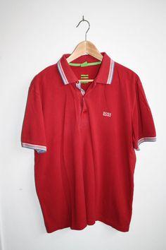 Hugo Boss Men's Modern Fit Polo Shirt Three Button Placket100% Cotton Red SizeXL