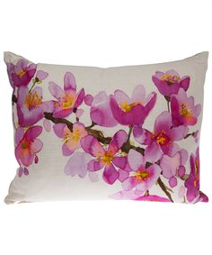 pink floral watercolor cushion