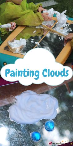 Painting Clouds with Shaving Cream: A great way to introduce represenational art through sensory activities for children