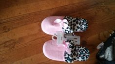 SUPER CUTE PINK&LEOPARD PRINT SOFT &FUZZY SLIPPERS!! SIZE LARGE 10!
