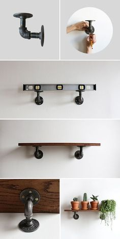 A DIY Industrial Shelving Unit for anywhere in your home! Perfect for an Indoor Garden or some favorite b A DIY Industrial Shelving Unit for anywhere in your home! Perfect for an Indoor Garden or some favorite books. Industrial Wall Shelves, Decor, Home Diy, Diy Shelves, Rustic House, Diy Furniture, Industrial House, Industrial Diy, Home Decor