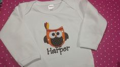 Thanksgiving Indian Owlis appliqued directly onto a super soft white bib, bodysuit or t-shirt with your child's name embroidered directly below the applique in your choice of font style. Choose from boy's crew neck t-shirt or girl's lettuce edge t-shirt. Leave information in boxes below.