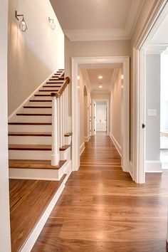 Living Room Home Decor Stairway And Hallway With Black Walnut Floor By Oak & Broad.Living Room Home Decor Stairway And Hallway With Black Walnut Floor By Oak & Broad Hardwood Floor Colors, Walnut Hardwood Flooring, Wide Plank Flooring, Timber Flooring, Diy Flooring, Flooring Ideas, Flooring Options, Hickory Flooring