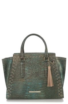 Free shipping and returns on Brahmin Moa Priscilla Leather Satchel at Nordstrom.com. Polished grommets and lizard-embossed leather in a rich, iridescent emerald hue add exotic edge to a structured satchel with plenty of uptown appeal.