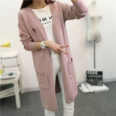 Long Knitting Sweaters And Cardigans For Woman 2016 Autumn Winter Soft And Delicate Korean Loose Coat Causal V-neck Open Stitch