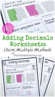 Do your kids feel comfortable adding decimals? Can they think flexibly and solve using multiple methods? This set of adding decimals worksheets will let them use multiple strategies to compare and build understanding. Teaching Decimals, Decimals Worksheets, Free Math Worksheets, Math Fractions, Dividing Fractions, Equivalent Fractions, Math Resources, Printable Worksheets, Adding Decimals Activity