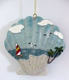 Seashell Ornaments with Beach Scene Seashell Painting, Seashell Art, Seashell Crafts, Coastal Christmas, Christmas Crafts, Christmas Decorations, Beach Christmas, 1st Christmas, Beach Holiday