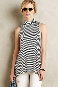 Perfect for warm or cool weather. Turtleneck Swing Tank #anthropologie