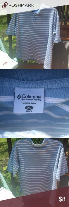 MENS Columbia polo Baby blue and white Columbia Shirts Polos