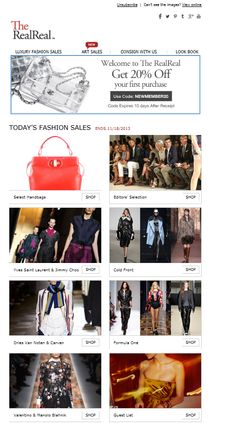 Real real category based email mixes catwal shots with product shots and celeb imagery