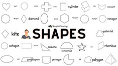 Geometric shapes like Heart, Square, Rectangle, Circle, Cube, Cylinder, Oval, Ellipse, Decagon, Diamond, Heptagon, Hexagon and more... Cubes, English Words, English Vocabulary, Geometric Shapes, Math, Diamond, Heart, Blog, Pictures