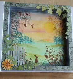 creating a boxed card using Inkylicious stamps love their tiny bunny stamps and using distress inks on watercolour paper will blog how made on the blog below asap