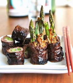 Japanese Beef Rolls With Scallion, Asparagus, And Enoki Mushrooms (known as Negimaki)