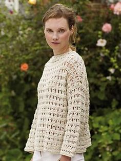 Crochet this casual drop shoulder sweater, an ideal summer cover up.