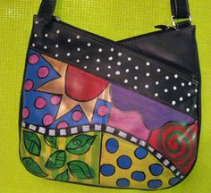 Hand painted leather purse adjustable shoulder strap by monapaints