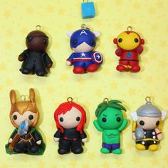 Polymer Clay AVENGERS CHARMS Each sold by SavanasClayCreations, $4.00