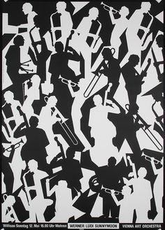Negative space juxtapositioned agains positive space: Niklaus Troxler, artwork for Werner Lüdi Sunnymoon, 1985.