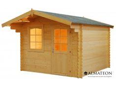 Chalet en sapin, de 8.6 m². Modèle : WW-21. Dimensions : 294 x 294 x 234 cm.