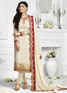 Buy Mouni Roy Cream Embroidered Straight Suit online from the wide collection of Salwar Kameez.  This Cream  colored Salwar Kameez in Faux Georgette  fabric goes well with any occasion. Shop online Designer Salwar Kameez from cbazaar at the lowest price.