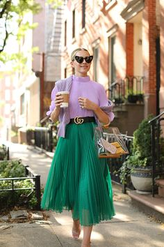 Green Skirt Outfit Collection blair eadie wearing green and lilac for summer click Green Skirt Outfit. Here is Green Skirt Outfit Collection for you. Green Skirt Outfit how to wear a green skirt 66 looks outfits womens. Green Skirt O. Green Skirt Outfits, Green Pleated Skirt, Pleated Skirt Outfit, Green Blouse Outfit, Green Outfits For Women, Green Skirts, Swag Dress, Pleated Midi Skirt, Chiffon Skirt