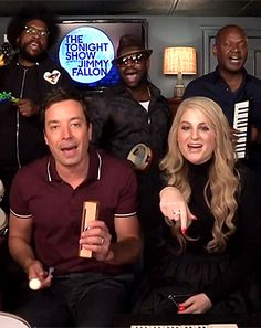 "Meghan Trainor stopped by The Tonight Show music room to perform her viral hit ""All About That Bass"" with Jimmy Fallon and The Roots -- watch"