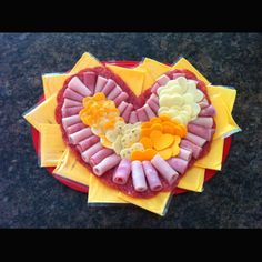 Valentine's Meat and Cheese Tray! Hard salami, ham and turkey. Colby, Pepper Jack, Cheddar, and Mozzarella. Great for class party! Meat And Cheese Tray, Meat Trays, Cheese Platters, Ham And Cheese, Keto Valentines Day, Valentine Treats, Valentines For Kids, Cake Factory, Meat Appetizers