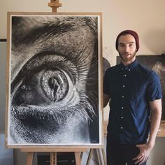 Pupil on the Easel. Eyes and other Black and White Graphite Realistic Drawings. By Jono Dry.