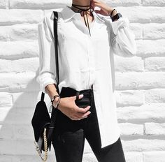 Monochrome #Chic - white shirt, black jeans & accessories #fashion