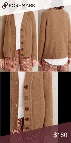 """Anthropologie Nelson Boyfriend Cashmere Cardi Moth relies on simple yarns and pure shapes to make a statement, and in turn appeals to women who want a feminine look without any fussiness. By Moth 100% Cashmere Button front 22.75@ underarm to underarm and 23"""" L Anthropologie Sweaters Cardigans"""