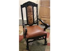 Arm Chair - Tooled Leather Back Insert, Leather Seat