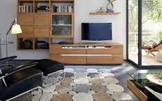 tapis salon moderne en segments ronds en beige, taupe et blanc cassé