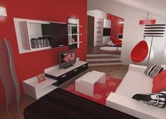 red white and black bedrooms | ... freshome 12345 Inspiring Contemporary Bedroom in Red, Black and White