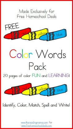 Free Download: Color Words Printable Worksheets Pack - 20 Pages!