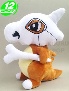 Pokemon Cubone Plush  With the skull over its head and the bone in its hand, Cubone is one of the saddest Pokemon around - you better make sure to comfort it with lots of cuddles!  - Plush is approx 30 cm / 12 inches tall. - Brand new with tags. - Ages 6 & up.