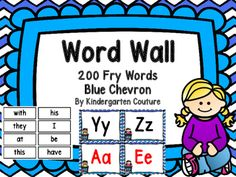 Here is a blue chevron word wall. Print preview to see the exact color. All consonant letters are in black. I made vowels in black and red. The first 200 Fry Words are also included which could also be used to print for flash cards at school and at home!