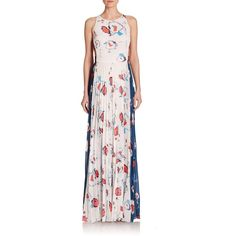 Sachin & Babi Camara Printed Pleated Cutout Maxi Dress (823 CAD) ❤ liked on Polyvore featuring dresses, apparel & accessories, sleeveless dress, floral sleeveless dress, cut out dress, pink dress et cutout maxi dress