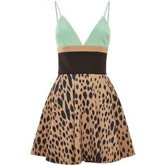 Fausto Puglisi Leopard And Green Printed Mini Dress