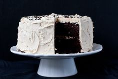 chocolate cake with peanut butter buttercream frosting | the merry gourmet