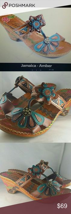 """Corky's Elite Women's Jamaica Slide Sandals-NWT -Leather Upper - Rubber sole  - Padded insole - Each sandal is hanpainted, resulting in a slight variance of colors - Manmade rubber sole - Demi 2.5"""" heel Corky's  Shoes Sandals"""