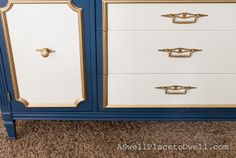 Navy Blue, White and Gold Credenza