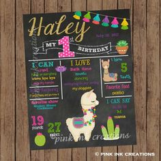 Check out our llama birthday selection for the very best in unique or custom, handmade pieces from our shops. Llama Birthday, Birthday Board, 1st Birthday Girls, First Birthday Parties, First Birthdays, Birthday Dates, Birthday Chalkboard, Chalkboard Signs, Party