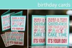 eighteen25: {birthday week} a gift for YOU; Free printables for birthday cards or size available to frame.