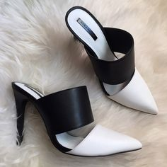 Zara Shoes - Zara Black & White Pointed Toe Mules-Euro 40