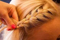 beautiful, beauty, blond, blonde, blonde hair, braid, cute, fashion, french braid, girl, hair, hairstyle, nails, pink, pretty, simple, style