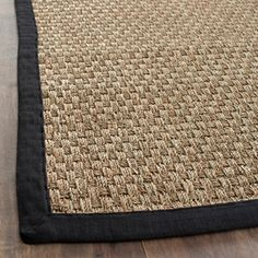 Safavieh Natural Fiber Natural and Black Power Loomed Sisal and Seagrass, Beige Natural Fiber Rugs, Natural Area Rugs, Natural Rug, Basket Weaving, Hand Weaving, Seagrass Rug, Natural Flooring, Area Rug Runners, Runner Rugs